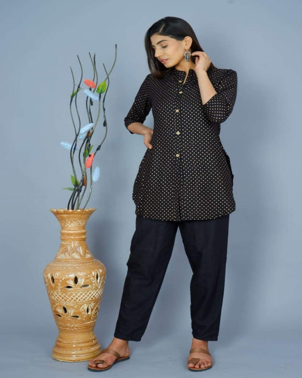 Black Dott Shirt Tunic Top Pant