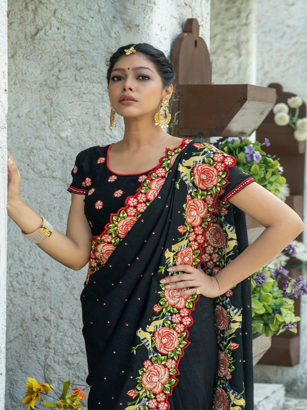 Black Embroidered Butta Stone Saree