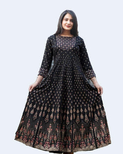 Black Gold Printed Anarkali Dress