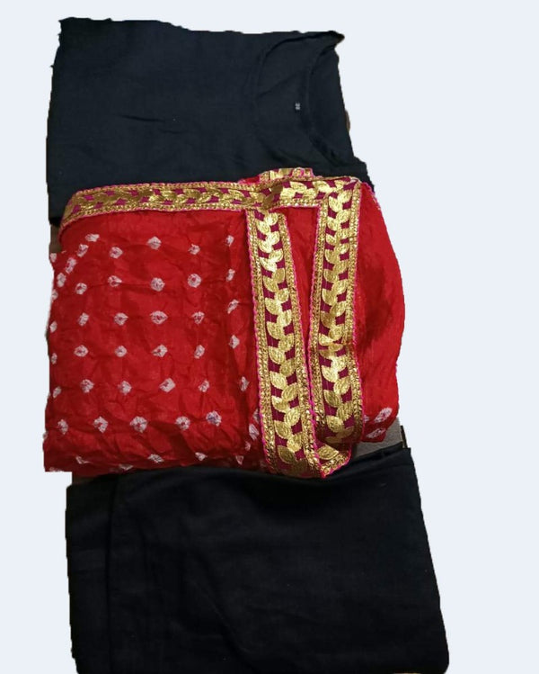 Black Suit With Red Bandhej Dupatta