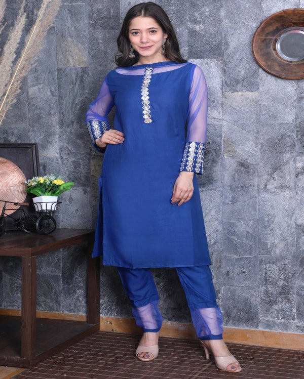 Blue Embroidered Mirror Kurti Pant