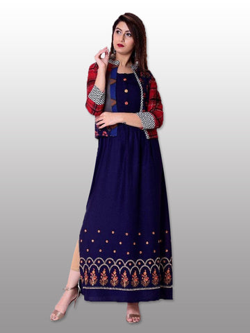 Blue side slit kurti with jacket
