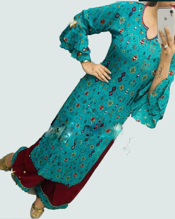 Blue Print Cotton Kurti With Sharara