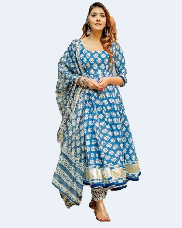 Blue White Block Print Kurti Pant With Dupatta