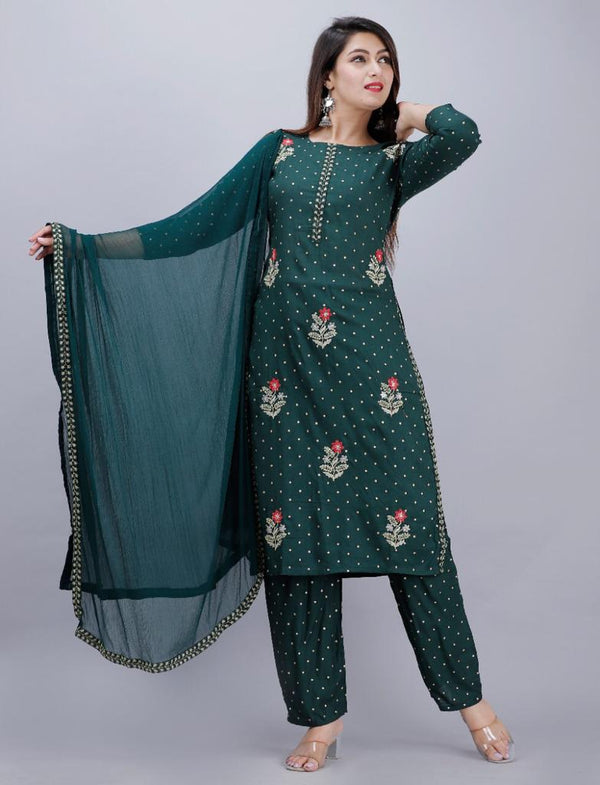 Casual Embroidered Green Suitset