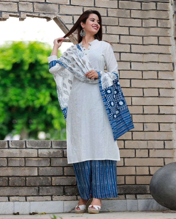 Cream blue suitset dupatta