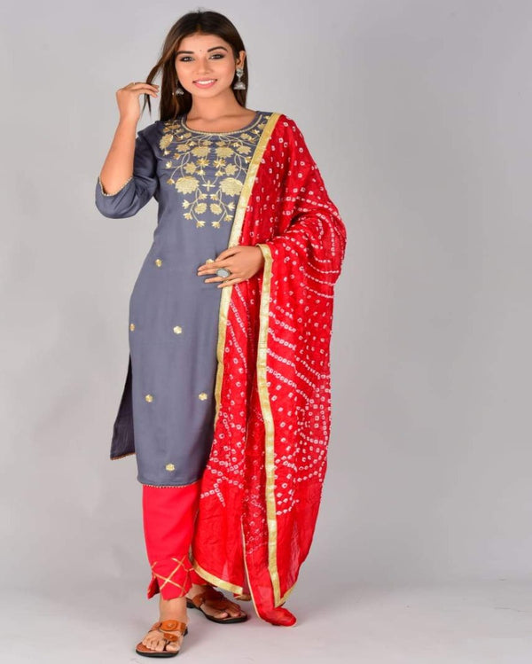 Demy Blue Embroidered Suit Red Bandhej Dupatta