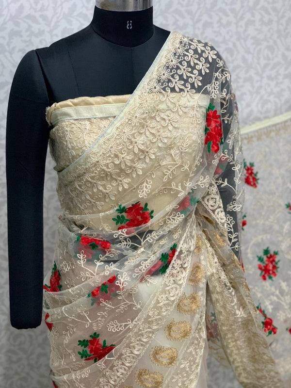 Designer Cream Green Butta Embroidered Net Saree