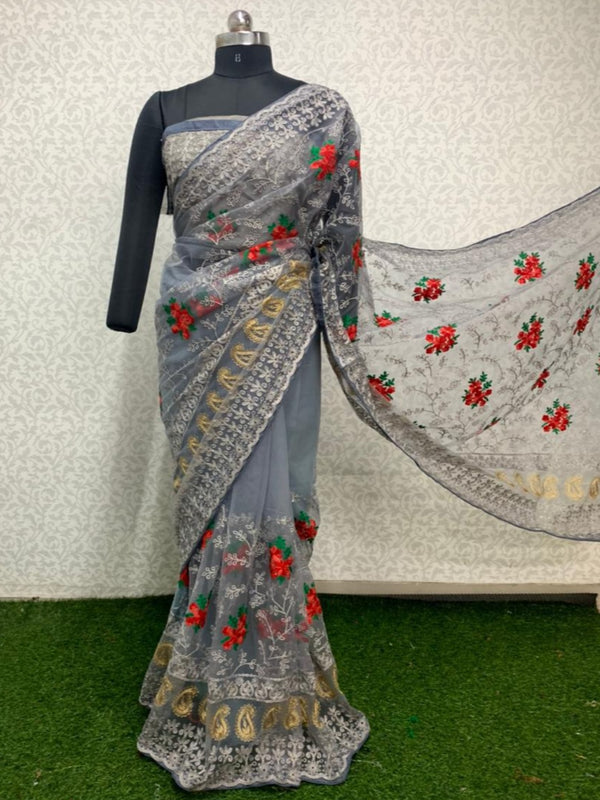 Designer Grey Green Butta Embroidered Net Saree
