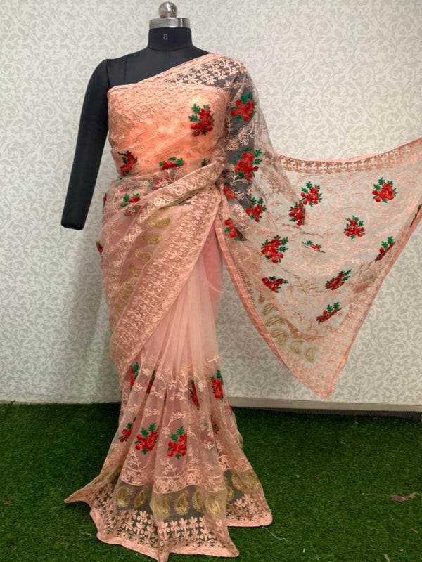Designer Peach Green Butta Embroidered Net Saree