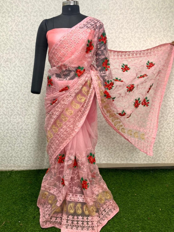 Designer Pink Green Butta Embroidered Net Saree