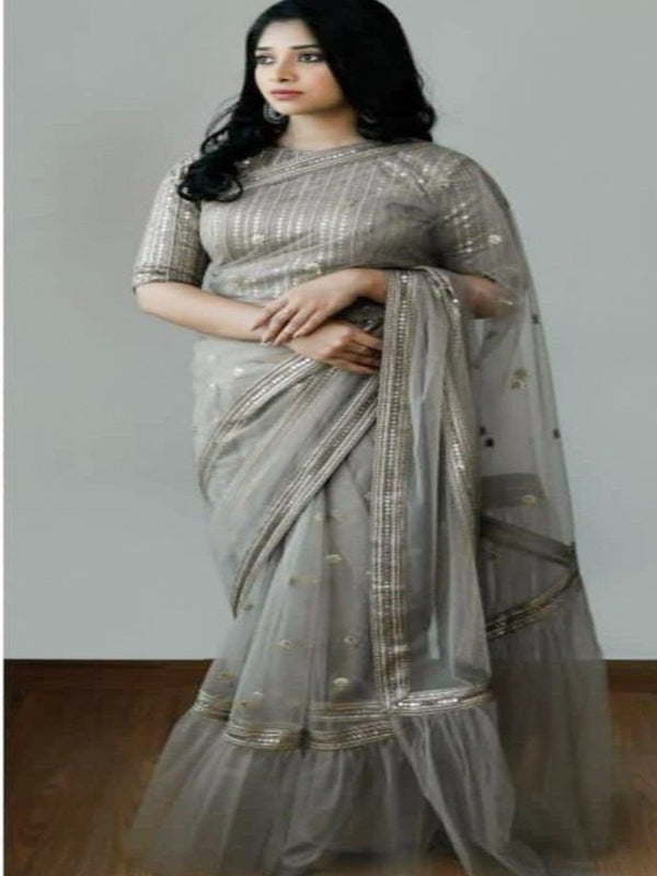 Elegant Grey Pearl River Embroidered Saree