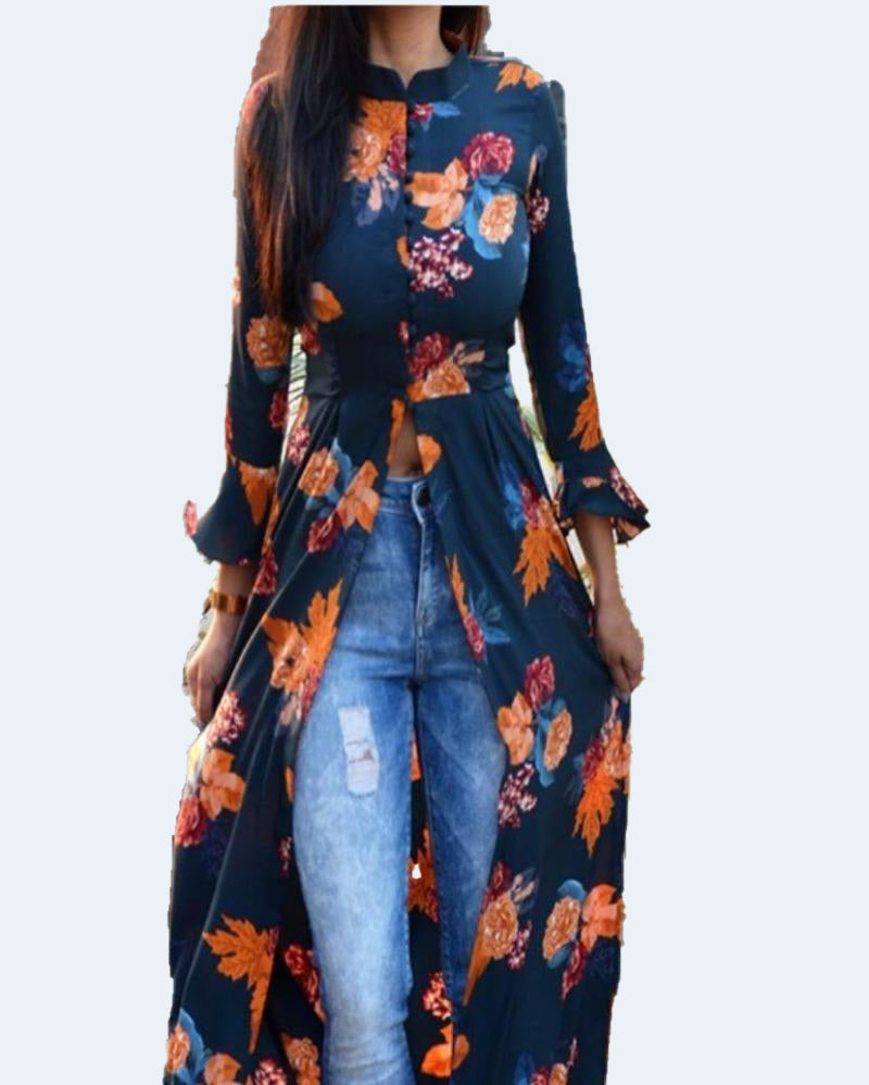 Front Slit  Cool Long Kurti Denim Jeans