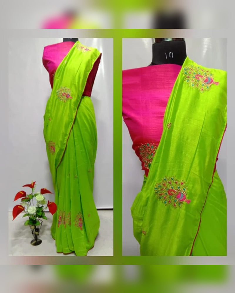 Green pink embroidery saree