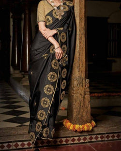 Gold Touch Black Tant Saree