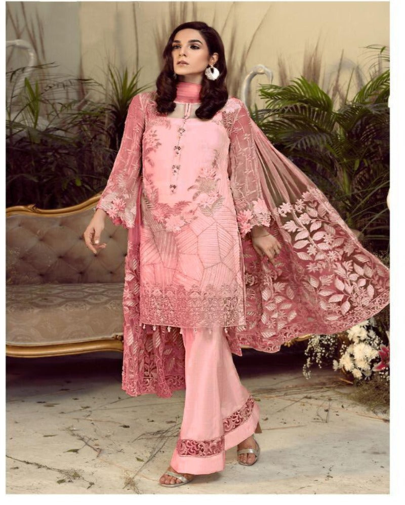 Embroidered Sequence Pink Dressmaterial
