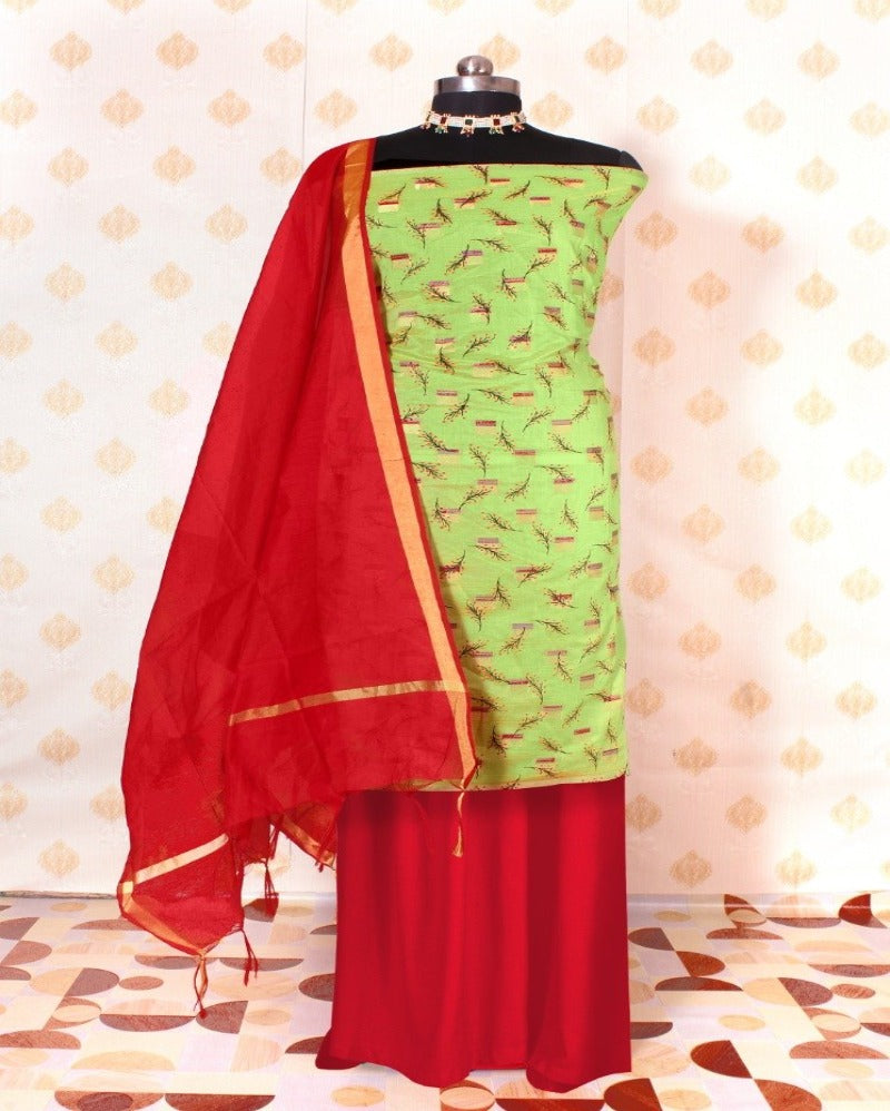 Green Printed Chanderi Silk Dress material