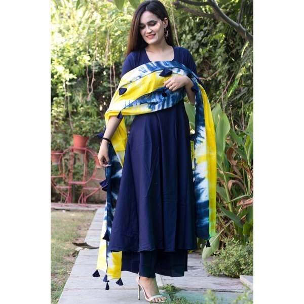 blue  kurti palazzo with dupatta set