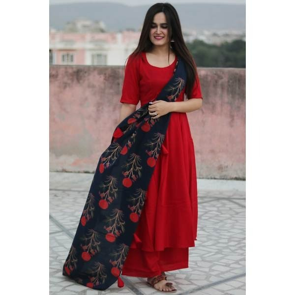 red kurti palazzo with printed dupatta
