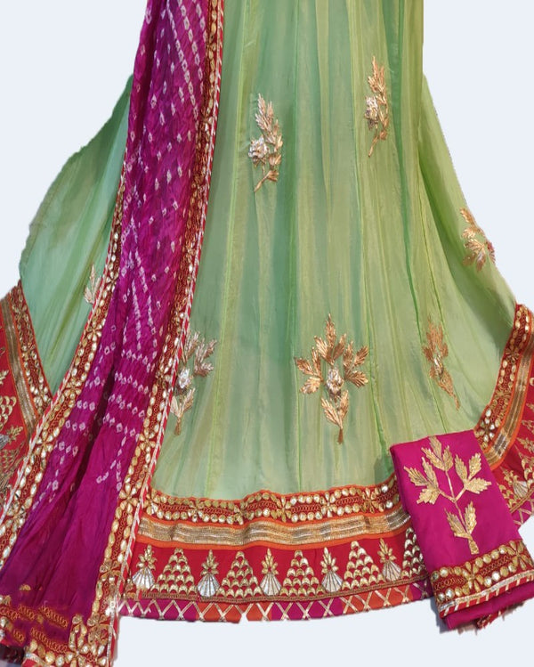 Light Green Chiffon Gottapatti Lehenga