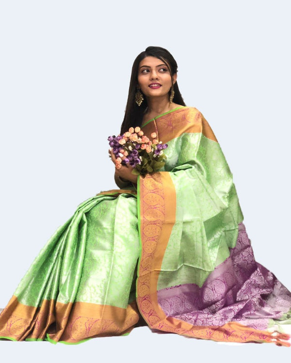 Lime Green Muslin Designer Saree