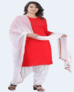 Mirror Embroidered Red Patiyala Suitset