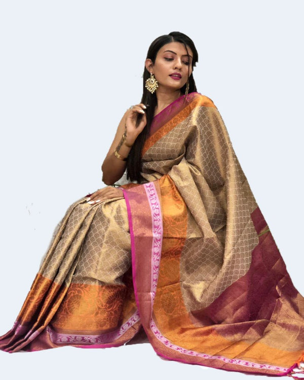 Orange Border Rich Muslin Gold Tone Saree