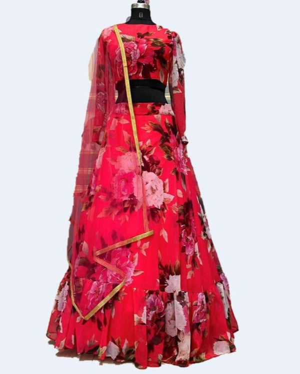 Pink Georgette Digital Printed Lehenga