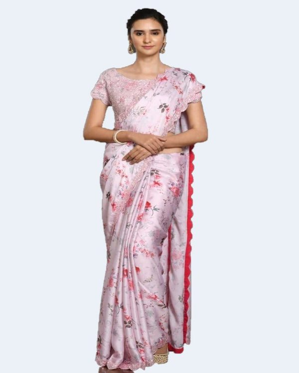 Pastel Pink Sequence Rajwadi Silk saree