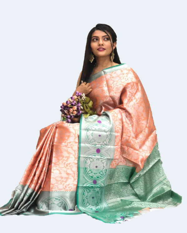 Pretty Peach & Blue Designer Muslin Saree