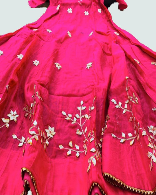 Rani Pink Gold Embroidery Long Chanderi Gown