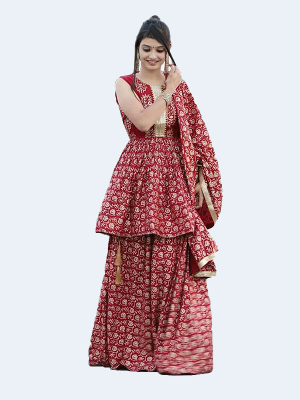 Rayon Gold Kurti With Skirt And Dupatta