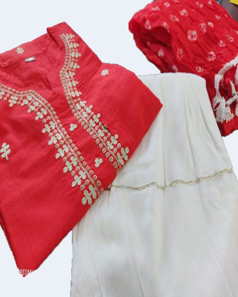 Red Festive Sharara Suitset With Bandhej Dupatta