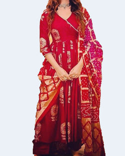 Red Frock Suit Silk Dupatta