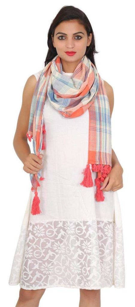 Pink & Blue Printed Stole