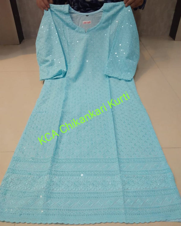 Sky Blue Cotton Fabric Chikan Embroidered Kurtis