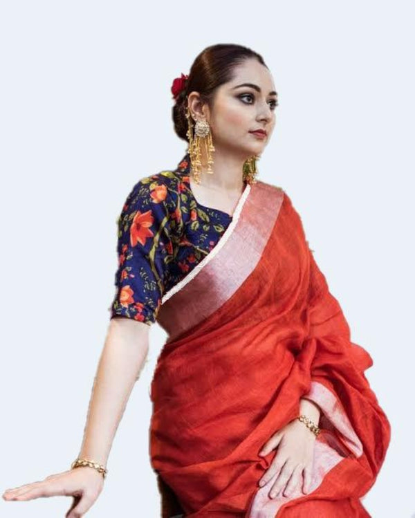 Traditional Blue Contrast Red Linen Saree