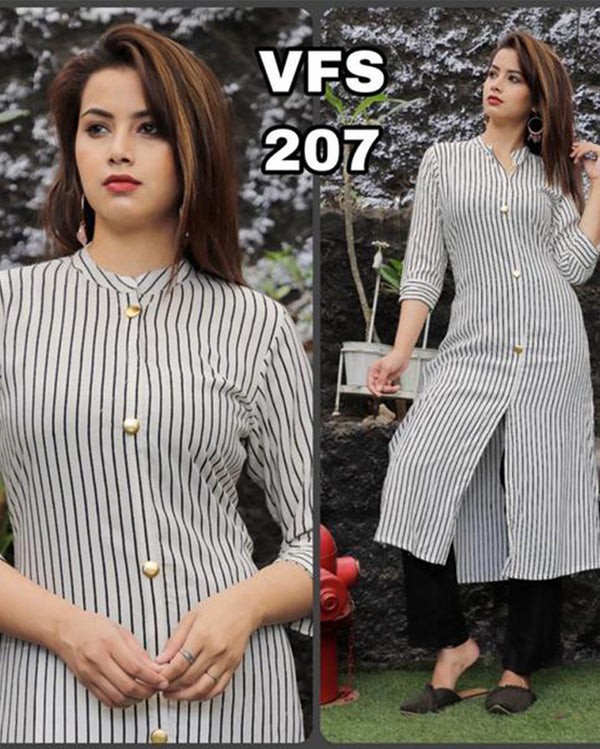 White stripes kurti plazo