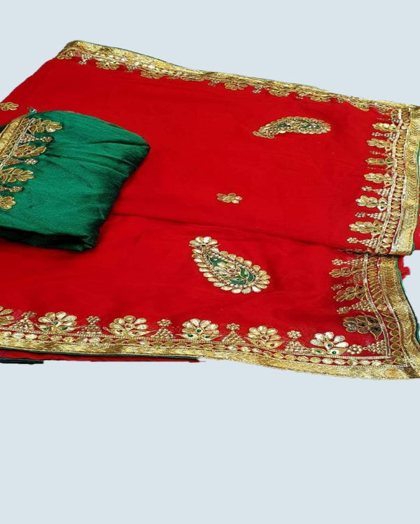 Red Odhi  gotta patti saree