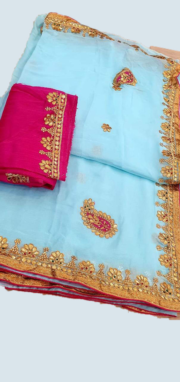 Blue Odhi  gotta patti saree