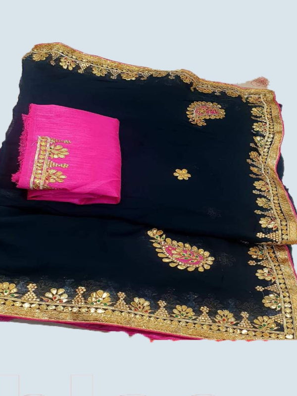 Black Odhi gotta patti saree