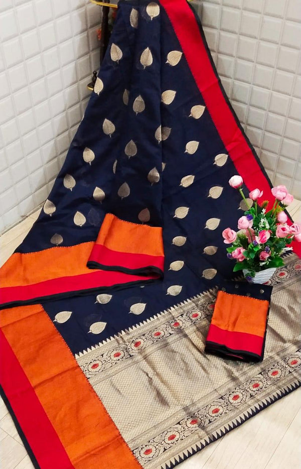 Navy blue cotton summer saree