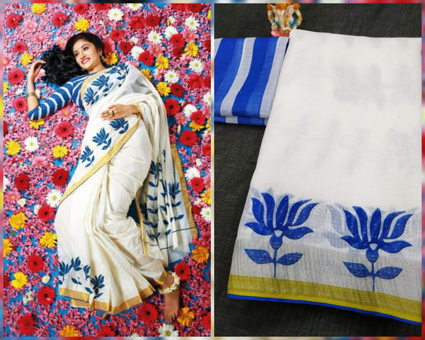 Lotus linen saree