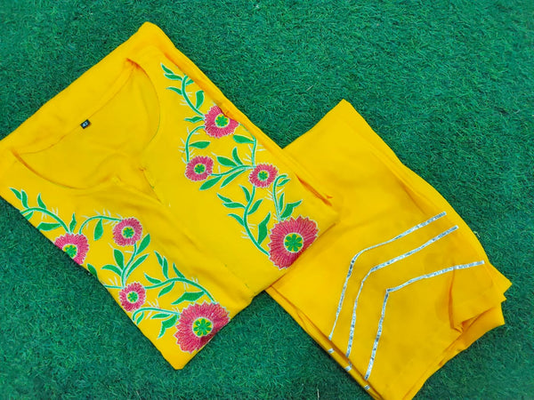 Yellow rayon flair kurti pant