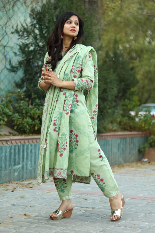 Green cotton kurti plazo dupatta