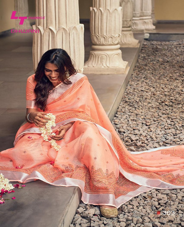 Peach kota silk saree