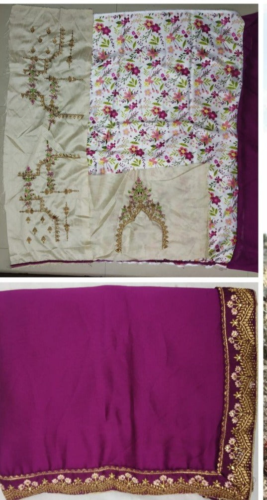 Whine saree embroidery blouse