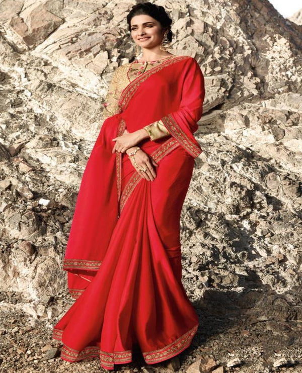 Red saree embroidery blouse