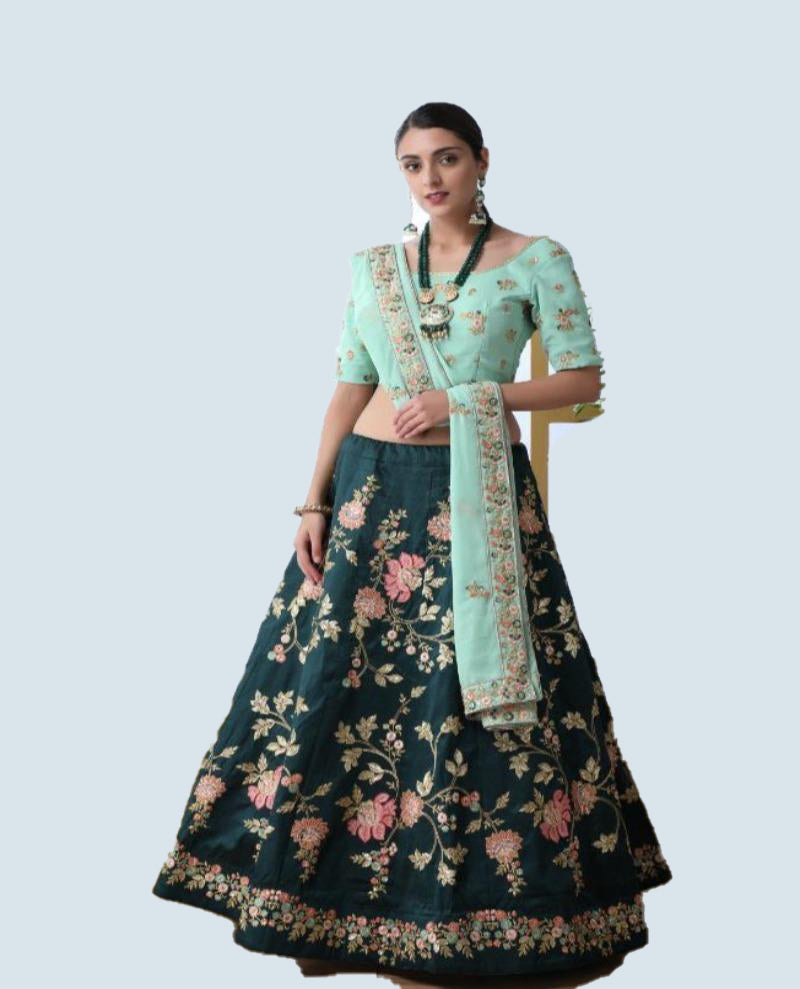 Dark green embroidery lehenga