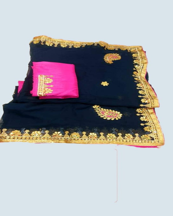 Navy Blue Odhi  gotta patti saree